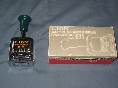 Vintage Lion C71 Auto Numbering Machine with Box & Manual Old Ink Stamper