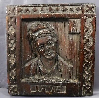 Antique Victorian Wall Hanging Wood Carving of Female Dated 1878 : Gothic Design