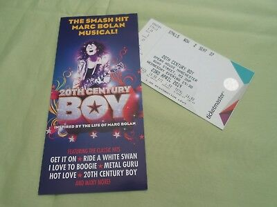 Marc Bolan T Rex Used Ticket 20Th Century Boy And Flyer