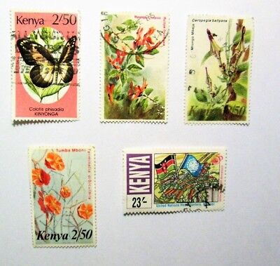 KENYA,  1990's, Lot of (5),CANCELLED, Not Hinged Stamps