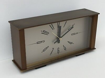 Vintage Retro 1970's  Metamec Kienzle Battery Mantle Clock, Bronzed Brass & Wood