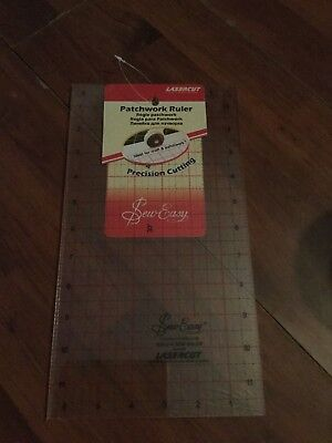 "Sew Easy Lasercut Patchwork Ruler  12"" x 6.5"" Template Quilting Sewing"