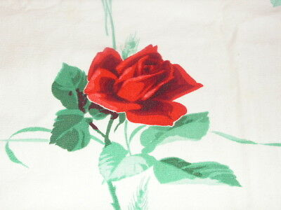 Vintage Red Rose Print Tablecloth Vtg Wilendur Tablecloth Cotton Print Red Rose