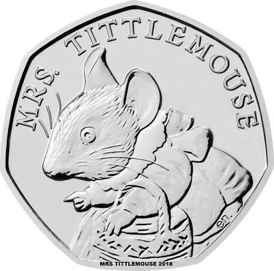 mrs tittlemouse  50 P COIN 2018  FIFTY PENCE BEATRIX POTTER,  UNCIRCULATED.,.,.