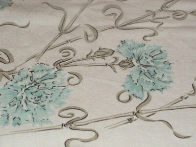 Vintage Blue Carnation Print Tablecloth Vtg Cotton Print Tablecloth Carnations