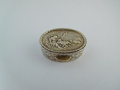 Lovely Quality Vintage Solid Silver Snuff / Pill Box - Italian ??