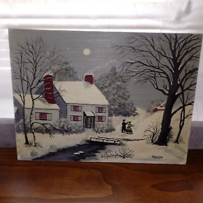 Vintage Oil Painting Oil on board Christmas Card Scene Moonlight House Signed