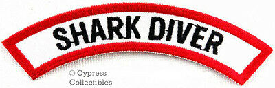 SHARK DIVER CHEVRON - SCUBA DIVING iron-on DIVE CERTIFICATION PATCH embroidered