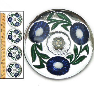32mm Vintage Czech Glass RETRO 1940's SILVER Mirror BLUE POPPY Flower Buttons 4