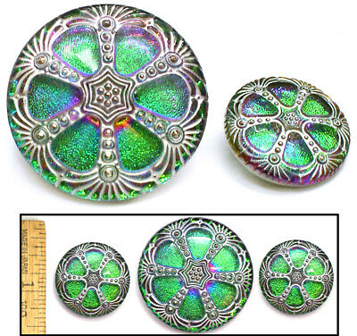 42mm 27mm Vintage Czech Glass GREEN Purp Flash FIRE AB WINDOW 2SIZES Buttons 3p