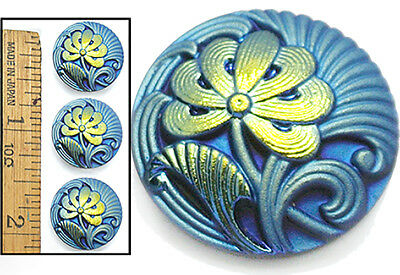 18mm Vintage Czech Glass Carnival BLUE AB Japanese GINKO FLOWER Buttons 3pc
