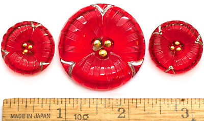 35mm 22mm Vintage Czech Glass RUBY Red CHRISTMAS FLOWER Buttons SET 2 SIZES 3pc