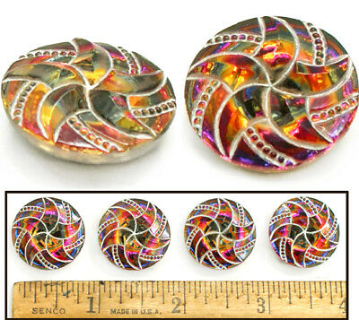 SHINING 22mm Vintage Czech RAINBOW FIRE AB Glass SWIRLING 6Point STAR Buttons 4p