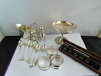 Lovely Job Lot Of Vintage And Antique English Solid Silver Items
