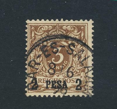 GERMAN EAST AFRICA 1893, 2p on 3pf (SIGNED) VF USED Sc#1 CAT$47 (SEE BELOW)