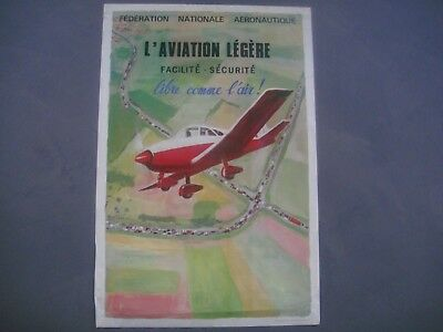 ancienne affiche originale aviation légère aeronautique no air france