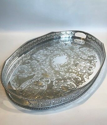 """Large 22"""" Vintage Viners Silver Plated Rise & Fall Gallery Floral Fruit Swags"""
