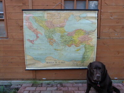 """Vintage Mid Century Canvas Wall Map """"the Travels Of St Paul"""" By W & Ak Johnson."""