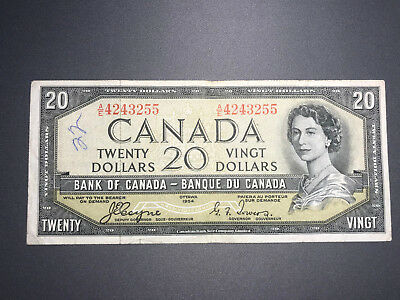 1954 Bank of Canada Devil Face $20 Bill Coyne Towers Signatures in Nice Shape!