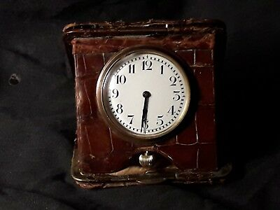 Antique Swiss Made Travel Clock In Leather Case C1910-20 Working