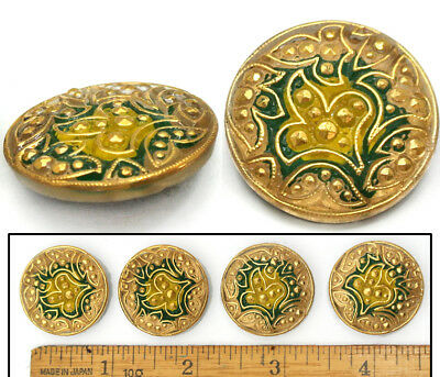 27mm Vintage Czech Glass Green Gold PAISLEY Leaf Nailhead Mirror Back Buttons 4