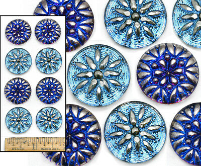 22mm Vintage Czech Glass BLUE FLASH AB Shankless No Shank Cabochon Buttons 8pc