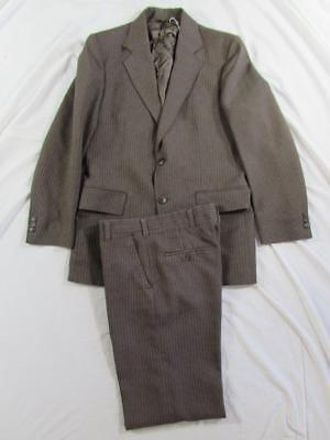 Vtg 60s 70s Haggar 2 Pc Pinstripe Polyester Suit Jacket & Pants Mod Hollywood