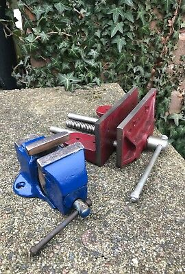 Vintage Dronfield Carpenters Bench Vice & Small Engineers Metal Vice Engineering