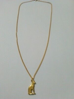 Egyptian Gold Plated Cat Pendant On A Chain