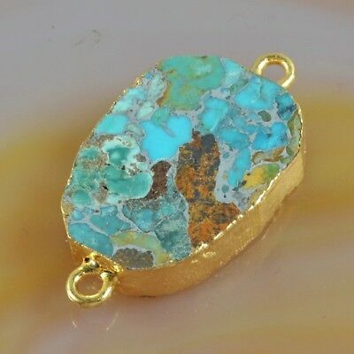 Blue Copper Turquoise Connector Gold Plated H129055