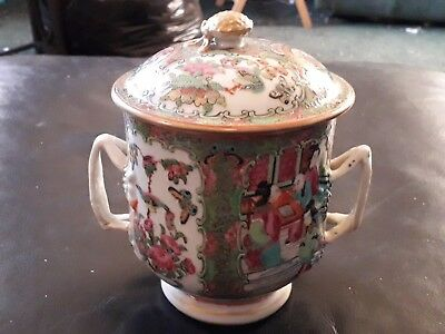 18th Early 19 Century Oriental Two Handle Lidded Cup Handpainted