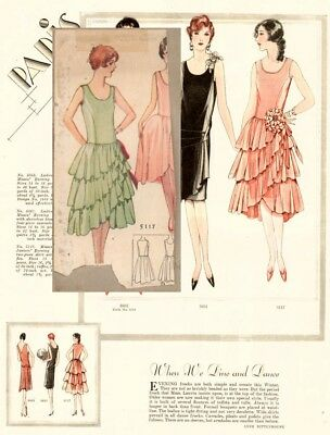 1927 McCall Evening Dress Pattern w/ w/out Ruffles Flapper Sewing Pattern Size18