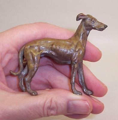 LOVELY Vintage COLD PAINTED Solid BRONZE Metal GREYHOUND/WHIPPET DOG Miniature
