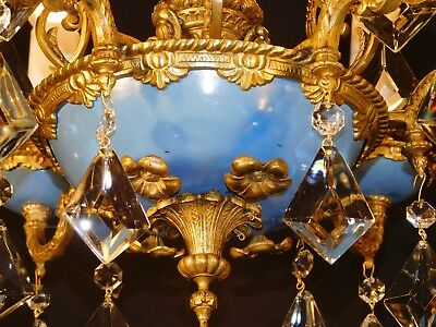 Antique French Bronze Blue Empire 6 Arm 6 Lite CHERUB Kyte Crystal Chandelier