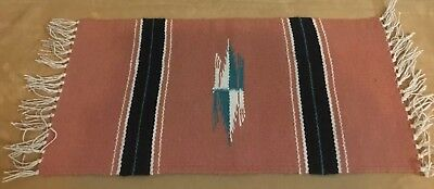 Woven Rug Table Pad, Southwest, Mexican, Stripes & Arrows, Salmony Pink, Black