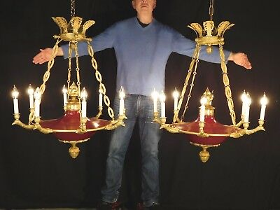 ANTIQUE Massive Regency OXBLOOD Empire 8 Light Eagle Brass Dore Chandelier