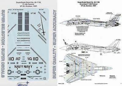 Superscale Decal 48-1136 Grumman F-14A Tomcat VF-32 Swordsmen 1/48
