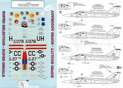 Superscale Decal 48-395 F-111A, FB-111A, F-111E Aardvarks 27 TFW, 380 BW 1/48