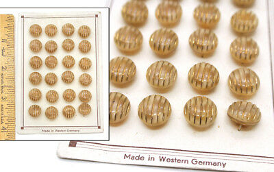 12mm Vintage 1940's Czech German Moonglow Glass Custard Gold Buttons CARD 24pc