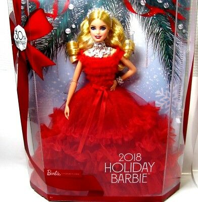 Barbie 2018 Holiday Doll Blonde in Stunning Red Dress 30th Anniversary Edition