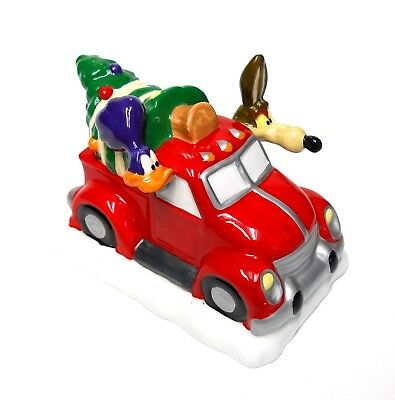 Cartoon Road Runner & Wile E. Coyote In Truck With Christmas Tree Figurine