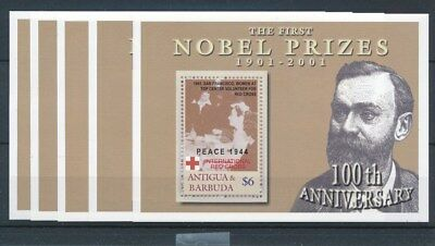 [17001] Antigua & Barbuda 2001 : Nobel - 5x Good Very Fine MNH Sheet