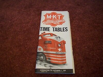 1953 MKT, Missouri-Kansas-Texas Railroad Timetable. Katy Railroad! LOOK