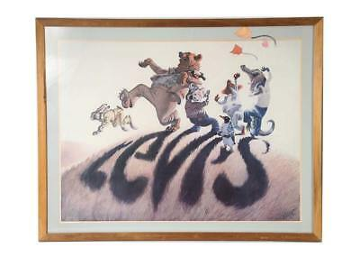 Vintage Levi's Jeans Advertising Poster Animals Shadow 1974 Bruce Wolfe ~ Framed