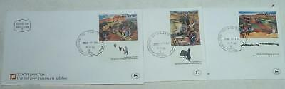 3 Different Israel First Day Of Issue Covers Tel Aviv Museum Jubilee -1982