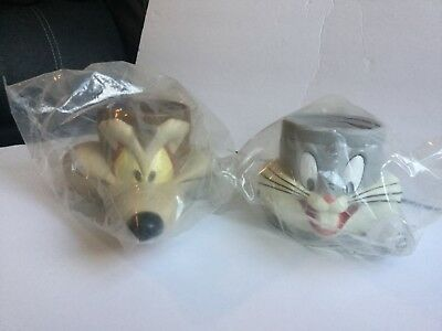 1992 KFC Bugs Bunny & Wile E Coyote  Mugs Cups Looney Tunes NEW OLD STOCK SEALED
