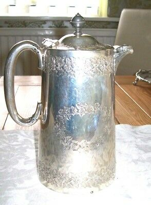 Antique Walker & Hall Sheffield Silver Plated Water Jug Pitcher Chased Floral
