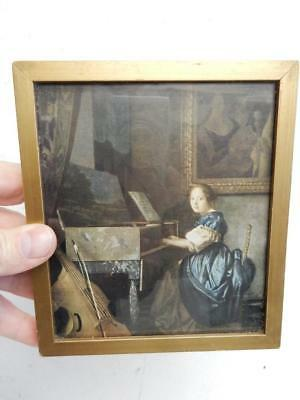 really old picture print small portrait lady seated at the virginals