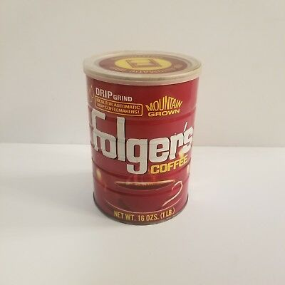 Vintage Folgers Coffee Tin With Lid 1 Pound Mountain Grown Red Yellow White (c1)