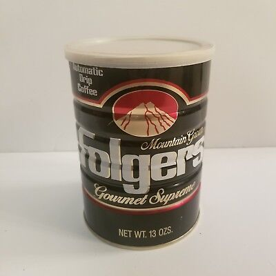 Vintage Folgers Gourmet Supreme Black Coffee Tin With Lid 13 Ozs (c3)